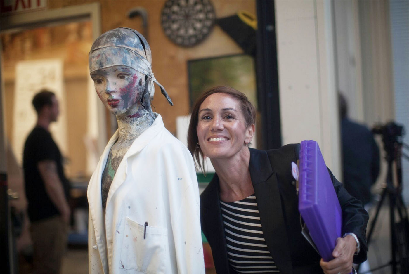 L to R: Pageant of the Masters- Mannequin and Christina Haakenson, Founder- JUVE Creative Inc.